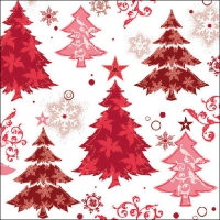 Servietten 33x33 cm - Design Trees Red