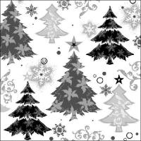 Servietten 33x33 cm - Design Bäume Schwarz