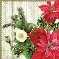Lunch Servietten Poinsettia On Wood