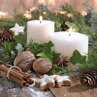 Servietten 33x33 cm - White Candles