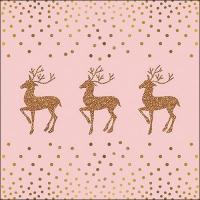 Servietten 33x33 cm - Hirsch und Punkte Rose / Gold