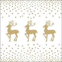 Servietten 33x33 cm - Deer And Dots White/Gold