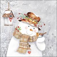 Servietten 33x33 cm - Snowman Holding Robin