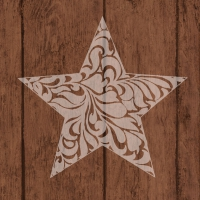 Servietten 33x33 cm - Star On Wood Brown
