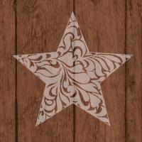 Servietten 33x33 cm - Star On Wood Brown