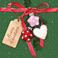 Servietten 33x33 cm - Christmas Tag Green