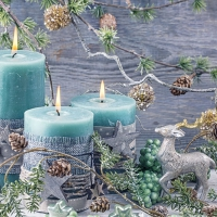Servietten 33x33 cm - Blue Candles