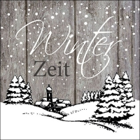 Servietten 33x33 cm - Winter Zeit Grau