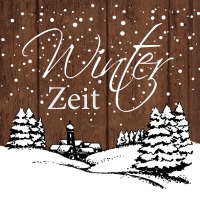 Servietten 33x33 cm - Winter Zeit Brown