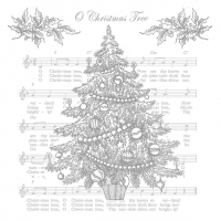 Servietten 33x33 cm - O Christmas Tree Silver