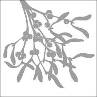 Servietten 33x33 cm - Mistletoe Silhouette Silver