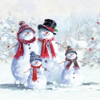 Servietten 33x33 cm - Snowmen With Hat