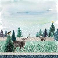 Servietten 33x33 cm - Deer Winterscene