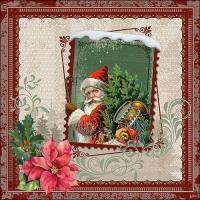 Servietten 33x33 cm - Santa Stamp