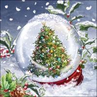 Servietten 33x33 cm - Tree In Snowglobe