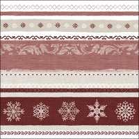 Servietten 33x33 cm - Winter Border Red