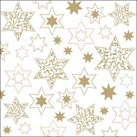 Servietten 33x33 cm - Ornaments In Stars Gold