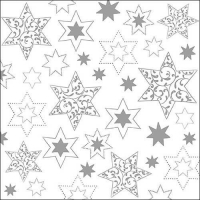 Servietten 33x33 cm - Ornaments In Stars Silver