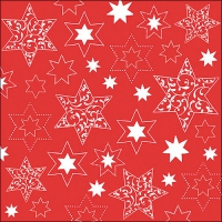 Servietten 33x33 cm - Ornaments In Stars Neg.Red