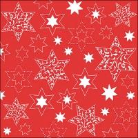 Servietten 33x33 cm - Ornaments In Stars Neg.Red