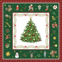 Servietten 33x33 cm - Christmas Evergreen Green