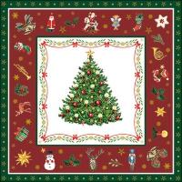 Servietten 33x33 cm - Christmas Evergreen Red