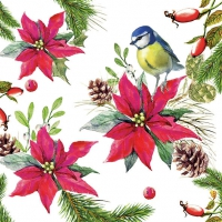 Servietten 33x33 cm - Bird On Poinsettia White