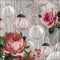 Servietten 33x33 cm - Roses And Baubles