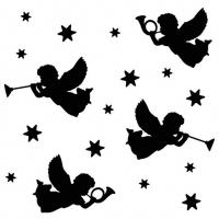 Servietten 33x33 cm - Trumpet Angels Black