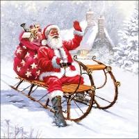 Servietten 33x33 cm - Santa On Sledge