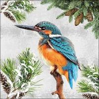 Servietten 33x33 cm - Kingfisher In Snow