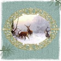 Servietten 33x33 cm - Elegant Deers Green