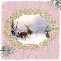 Servietten 33x33 cm - Elegant Deers Rose