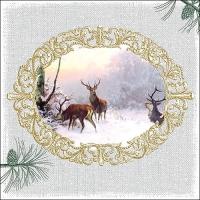 Servietten 33x33 cm - Elegant Deers Grey