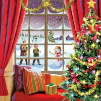 Servietten 33x33 cm - Christmas Window