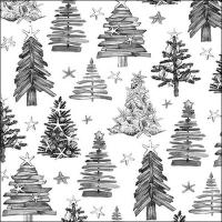 Servietten 33x33 cm - Tree Pattern Grey
