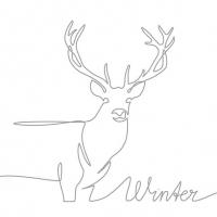 Servietten 33x33 cm - Deer Drawing Silver