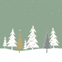 Servietten 33x33 cm - Midnight Trees Green