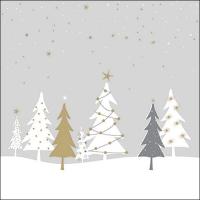 Servietten 33x33 cm - Midnight Trees Grey