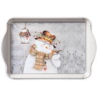 Tablett - 15X23cm Snowman Holding Robin
