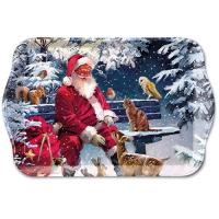 Tablett - 13X21cm Santa On Bench