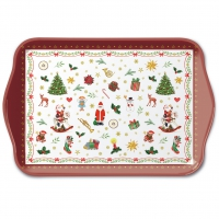 Tablett - Ornaments All Over Red