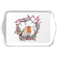 Tablett - Robin In Wreath