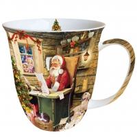 Porzellan-Henkelbecher Santas Mail