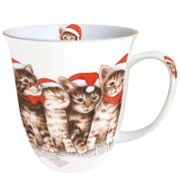 Porzellan-Henkelbecher Singing Cats