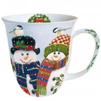 Porzellan-Tasse Snowman Couple