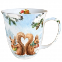 Porzellan-Tasse - Eichhörnchen Liebe