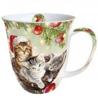 Porzellan-Tasse - Katzen im Korb