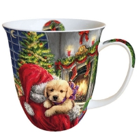 Porzellan-Tasse - Puppy At Fire