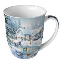 Porzellan-Tasse - Abendliches Schlittschuhlaufen